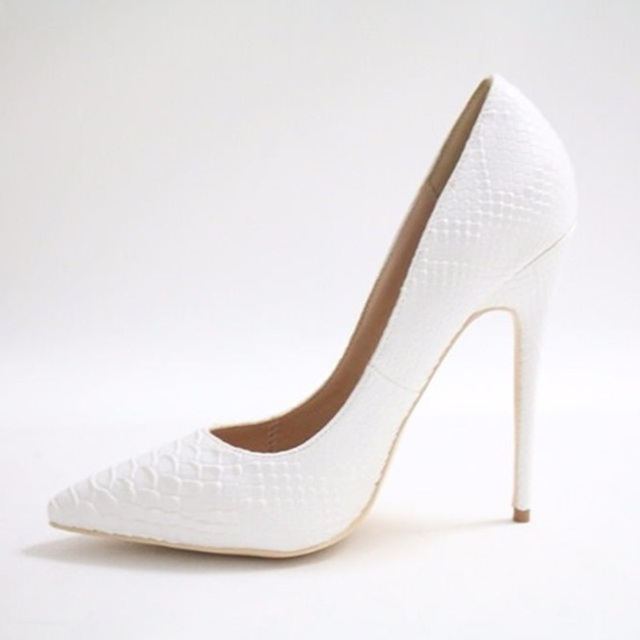 3177aef8fc00 Discount White Snakeskin Print Women Classic Pumps Thin Heels 12cm Pointed  Toe Shoes Shallow Dress Workplace Lady Pumps Size 10