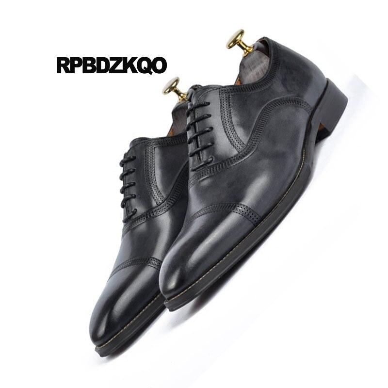 Britannique Richelieus De Italiennes Pour Véritable Chaussures Mariage Cuir Luxe Brosse Robe Partie marron Italie Style Européenne Noir Bout Hommes Carré Le eYbH92IDWE