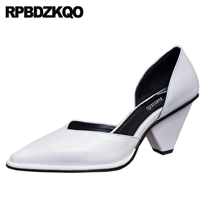 Pumps Mules Slipper Black White Sandals Strange Chunky High Heels Pointed Toe Fashion Shoes 2018 Luxury Women Size 4 34 Plus 33 цена