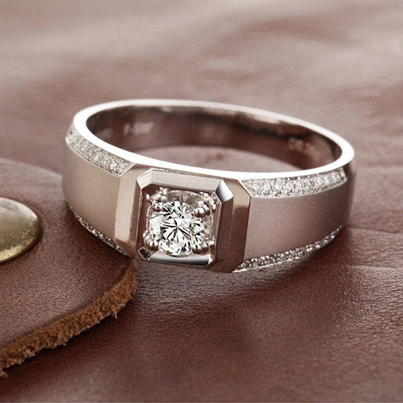 Handmade Wedding Men Ring 0.26+0.3ct Natural Diamond 18K White Gold  Engagement Diamond Jewelry