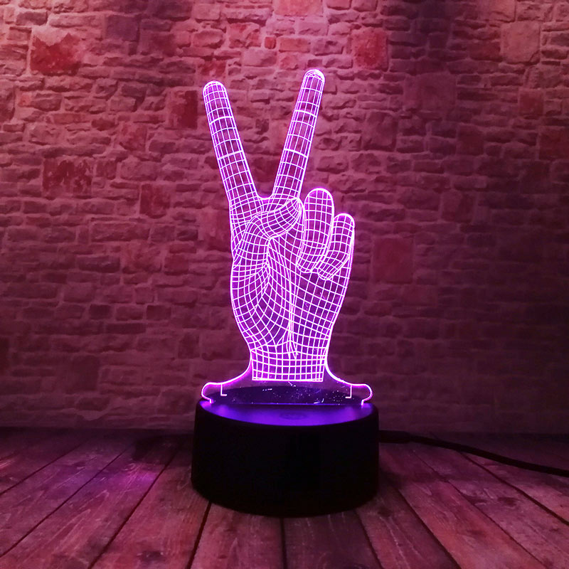 Victory Gesture Figure 3D Illusion Led Nightlight Colourful Flash Touch light Desk Lamp Winner YES Figras Model Toy Holiday gift