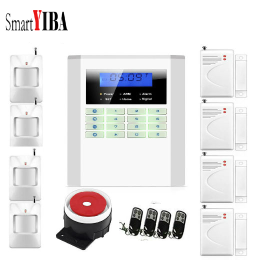 SmartYIBA GSM PSTN Alarm Systems Security Home Alarmes Kits 433Mhz Sensors Alarm Smart Voice Burglar Wireless Alarm System wireless smoke fire detector for wireless for touch keypad panel wifi gsm home security burglar voice alarm system