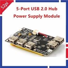 Big sale 52Pi Original! 5-Port 3800mAh USB 2.0 Hub Power Supply Module for Raspberry Pi 3/2 Model B/A+/Pi Zero