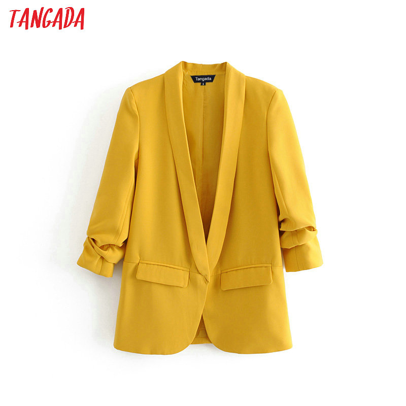 Tangada Women Solid Blazer Autumn Pockets Pleated Three Quarter Sleeve Outerwear Ladies Work Wear Casual Chic Tops DA75