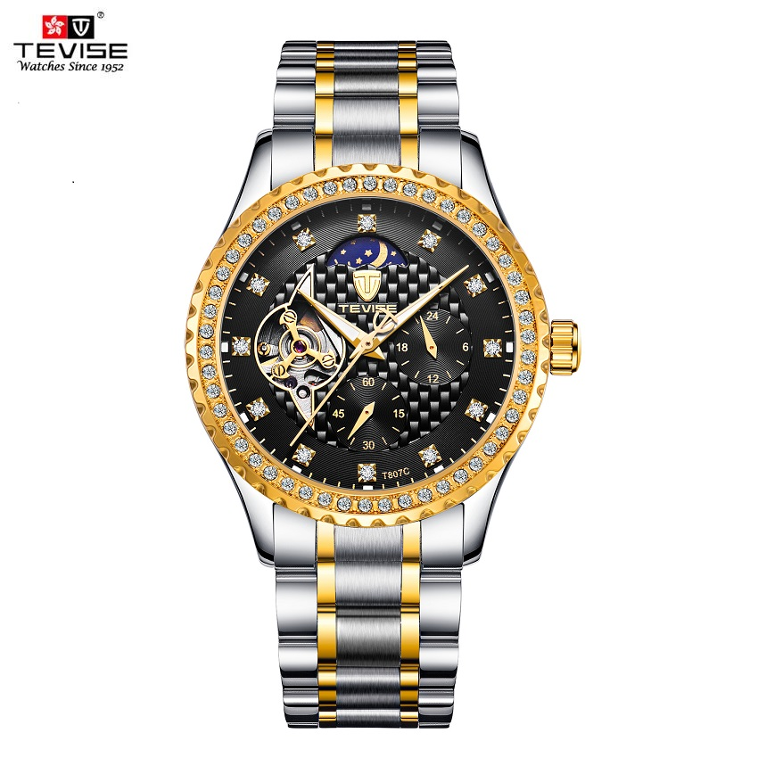 TEVISE Watch Men Diamond Business Automatic Watches Waterproof Moon Phase Luminous Mens Watches Luxury Mechanical Wristwatches tevise men automatic self wind mechanical wristwatches business stainless steel moon phase tourbillon luxury watch clock t805d