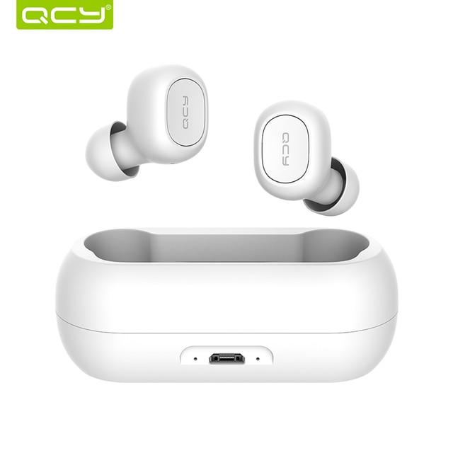 QCY qs1 наушники Bluetooth 5,0 СПЦ мини невидимый 3D hi fi стерео беспроводной гарнитура с запасные аккумуляторы для телефонов зарядная коробка