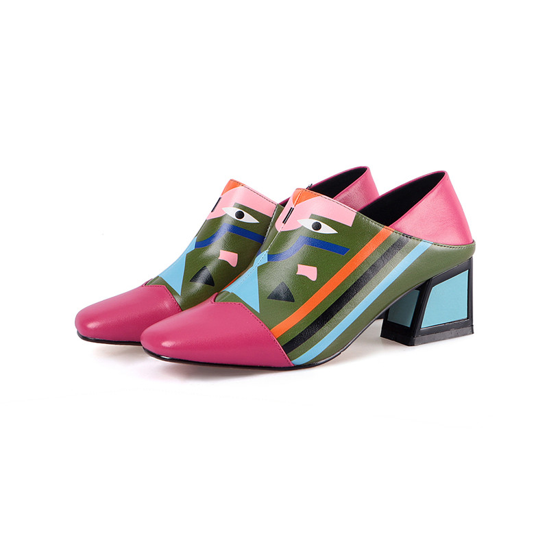 FEDONAS 19 Fashion Prints Women Synthetic Leather High Heels Party Wedding Shoes Woman Square Toe Spring Summer Basic Pumps 8