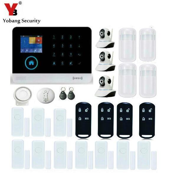 Yobangsecurity сенсорной клавиатурой WI-FI GSM Видео IP Камера с дымом огонь pir детектор движения Дистанционное управление приложение Android IOS