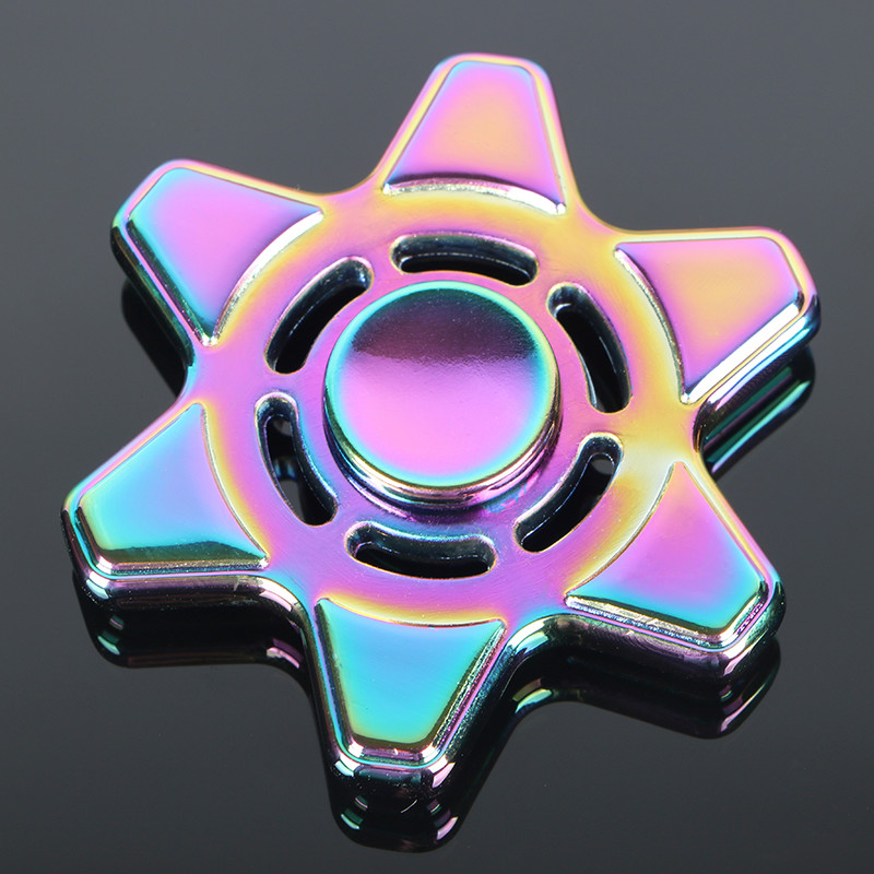 Colorful Six Star Tri Spinner Fidget Toy metal Hand Spinner For Autism And ADHD Children Adults