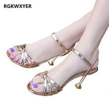 RGKWXYER New Womens Sandals Fashion Stiletto High Heels Sexy Fish Mouth Butterfly-knot Shoes Summer Joker Roman
