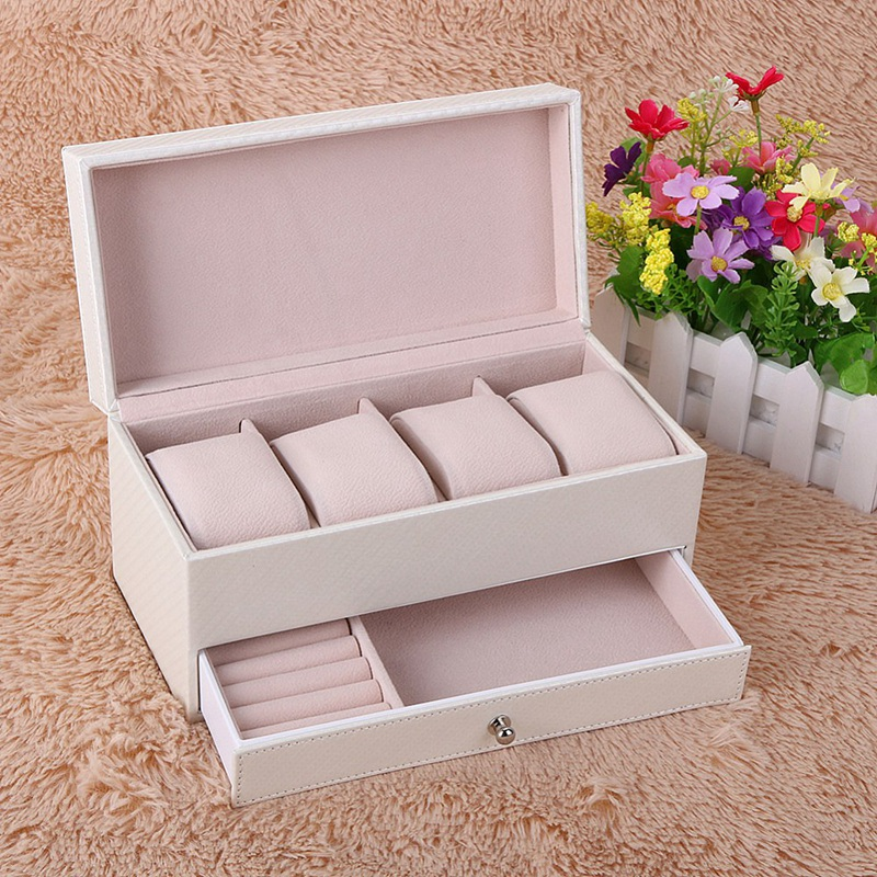 NEW 4 Compartment Watch Storage Box Drawer Jewelry Storage Display Leather Square Jewelry Box White in Watch Boxes from Watches