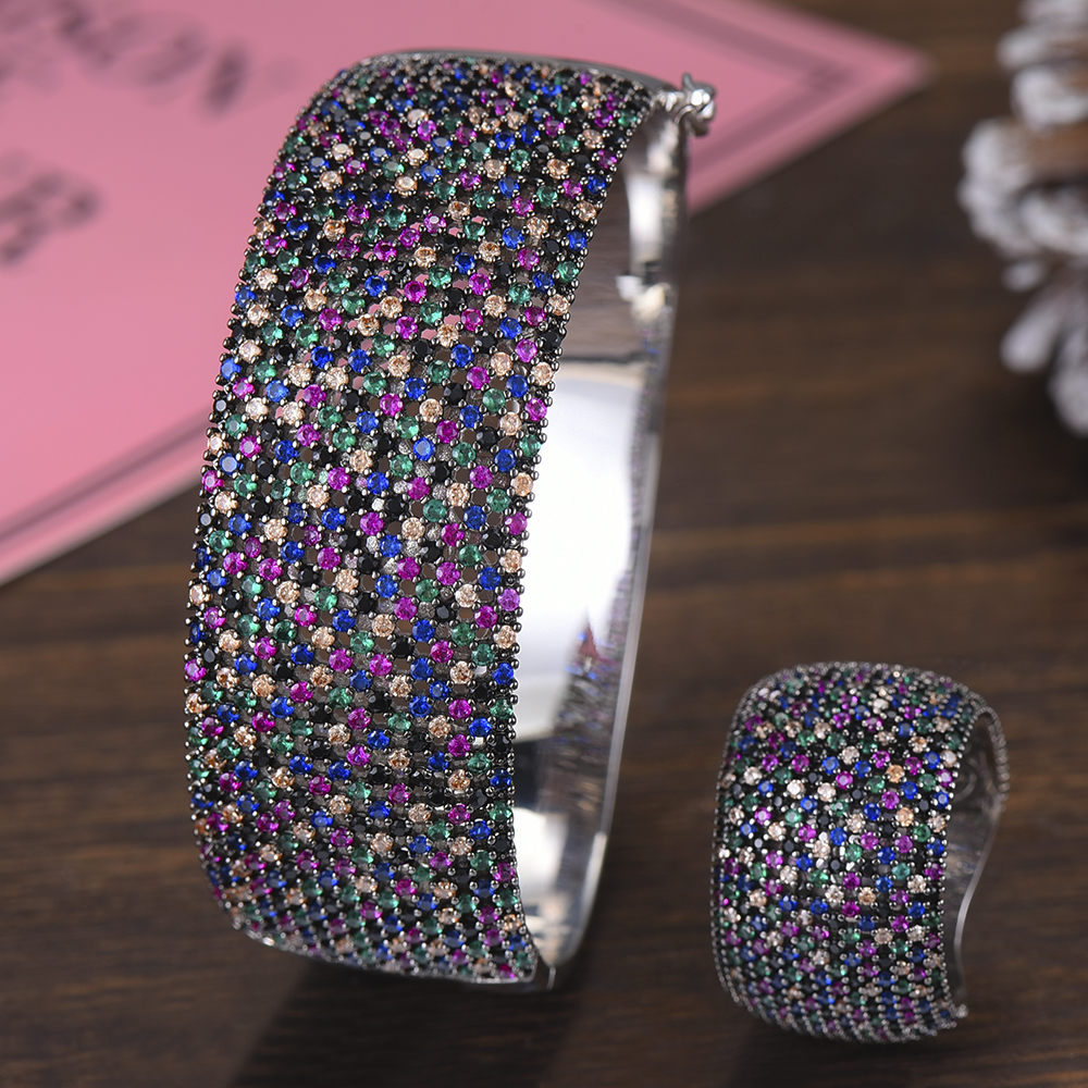 GODKI Wide Luxury Tennis Bangle Ring Sets Jewelry Sets For Women Wedding Cubic Zircon Crystal CZ