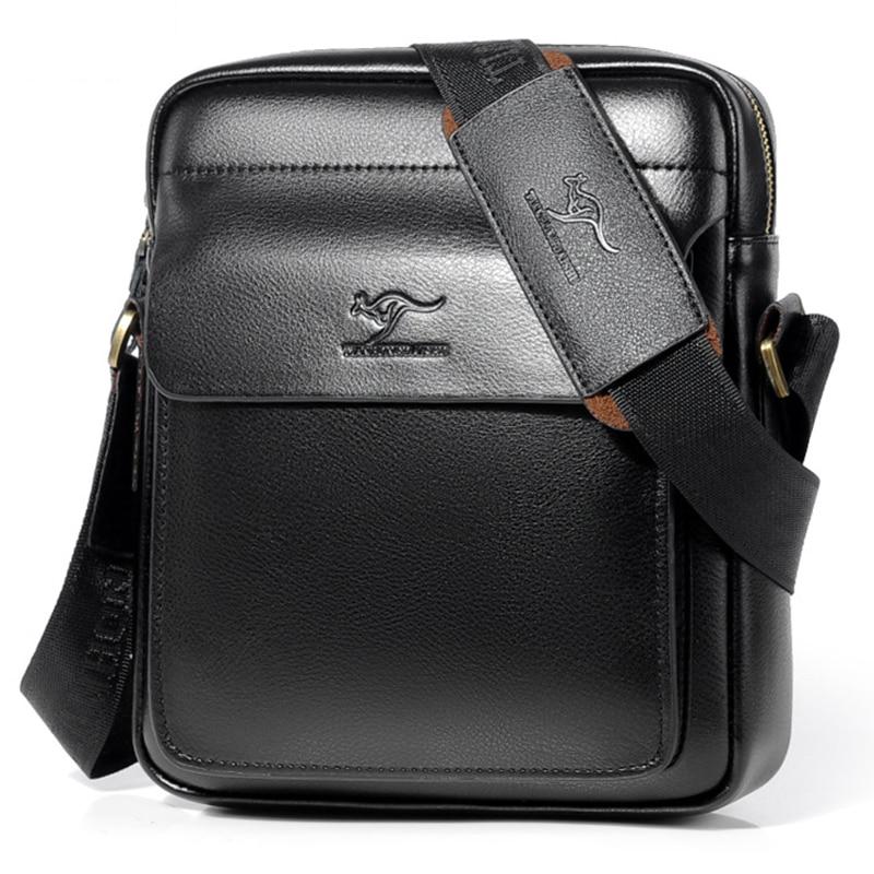 Luxury Brand Business Messenger Bag Men Leather Crossbody Bags For Men Shoulder Bags Male Black Brown Casual Sling Bag For IPAD