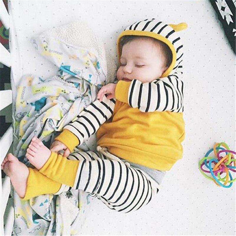 0-3 Jahre Heißer Verkauf Unisex Baby Mädchen Jungen Kleidung Sets Casual 2 Stücke Gestreiften Mit Kapuze Hoodie Hosen Hosen Bequeme Kleidung