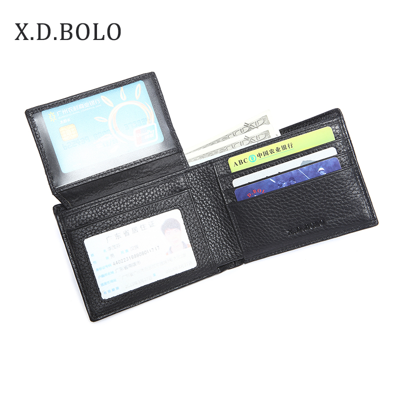 Short Wallet Purse Card-Holder Bifold Black Male Genuine-Leather Mens XDBOLO High-Capacity