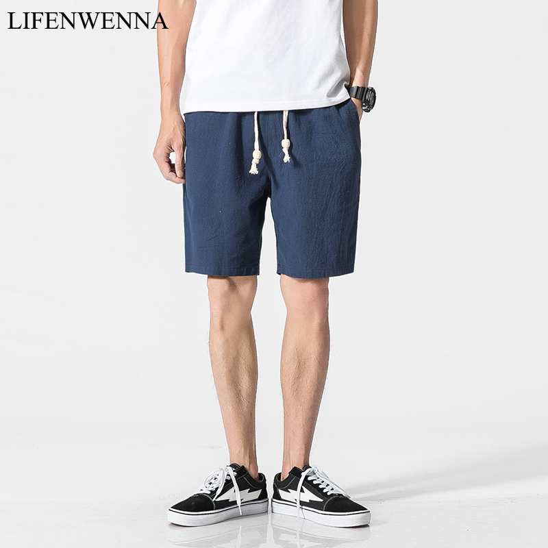 2019 White Cotton Linen Shorts Men Summer Shorts Male Bermuda Casual Board Short Pants Man Big Size Drawstring Harajuku 4XL 5XL