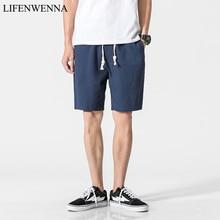 2019 White Cotton Linen Shorts Men Summer Shorts