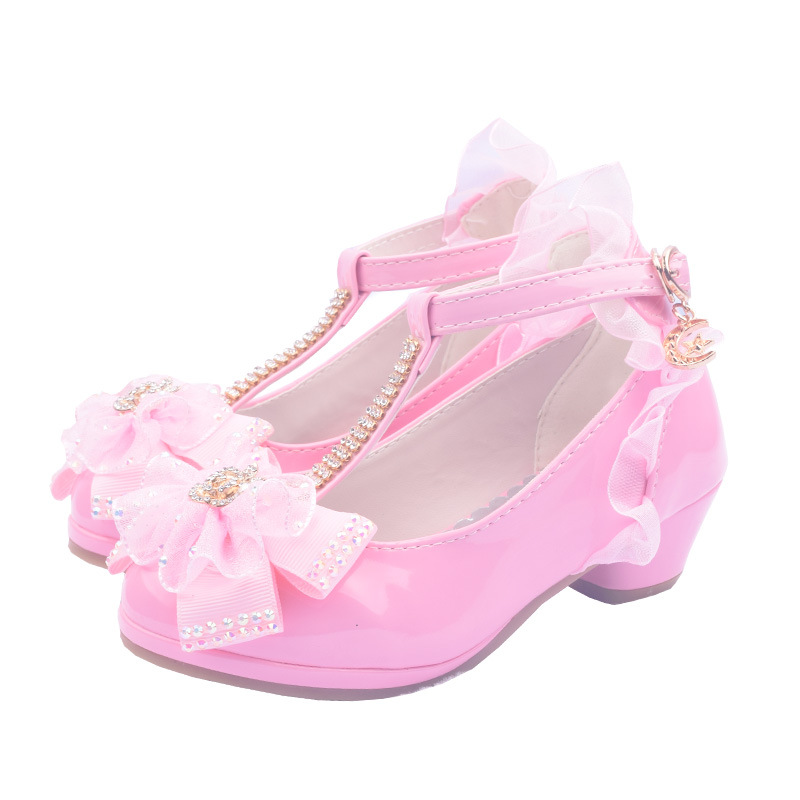 Princess Children Party Leather Shoes Girls PU Low Heel Lace Flower Kids Shoes For Girls Single Shoes Tie Bow Dance Dress Shoe iyeal kids shoes pu leather sequins glisten gold baby girls shoes with bow silver flower princess party soft toddler flats