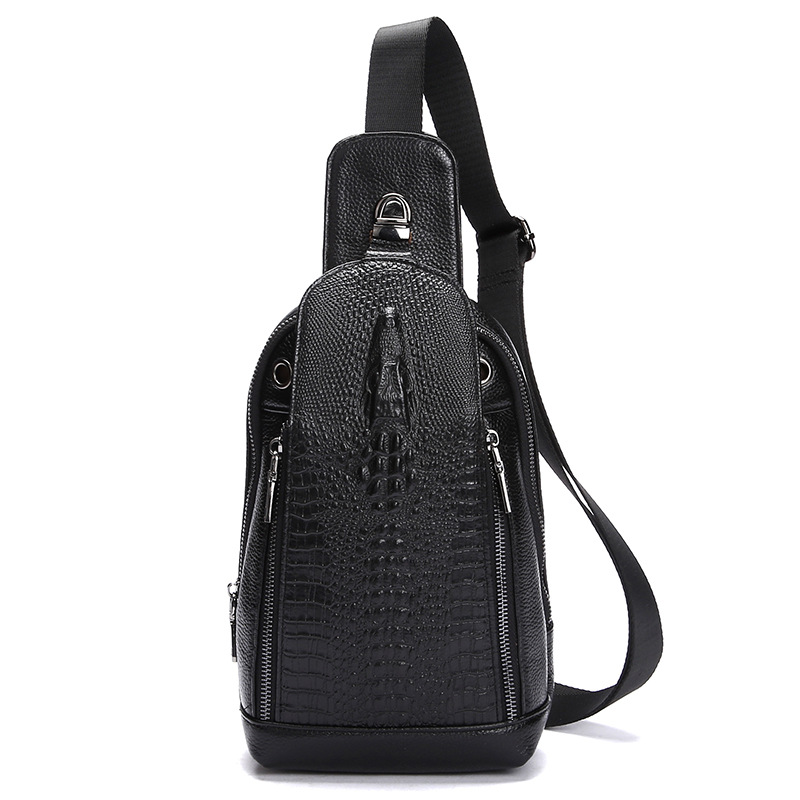 100% Genuine Leather Mens Bags Crossbody Bag For Man Cowhide Shoulder Bag Causal Luxury Handbag Design Alligator Pattern Bags