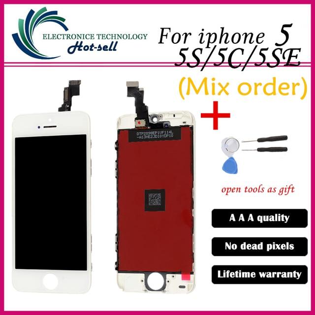 Mix de venda de alta qualidade aaa nenhum ponto morto para iphone 5 smartphones LCD + Touch Pad + Repair Tool Set + LCD Digitador Quadro montagem