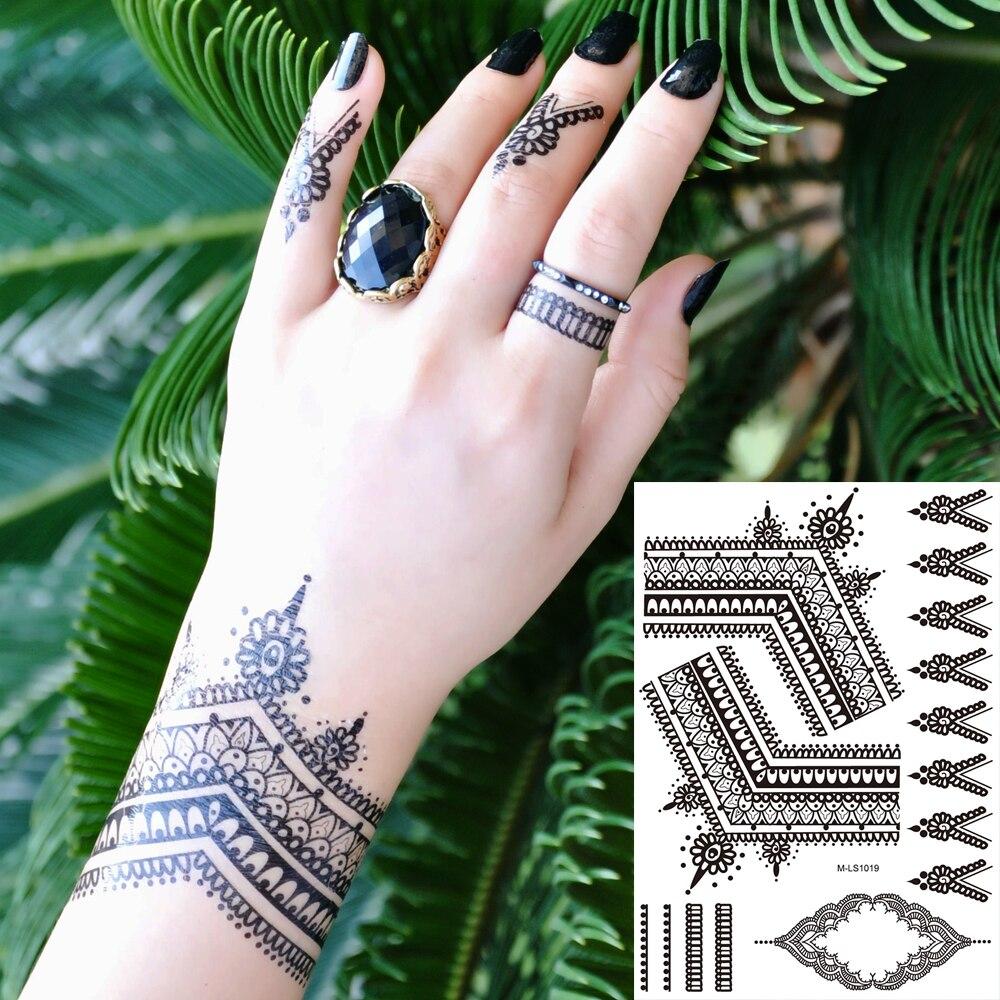 1 Pc Flash Noir Henne Indien Fleur De Tatouage Bm Ls1019 Temporaire