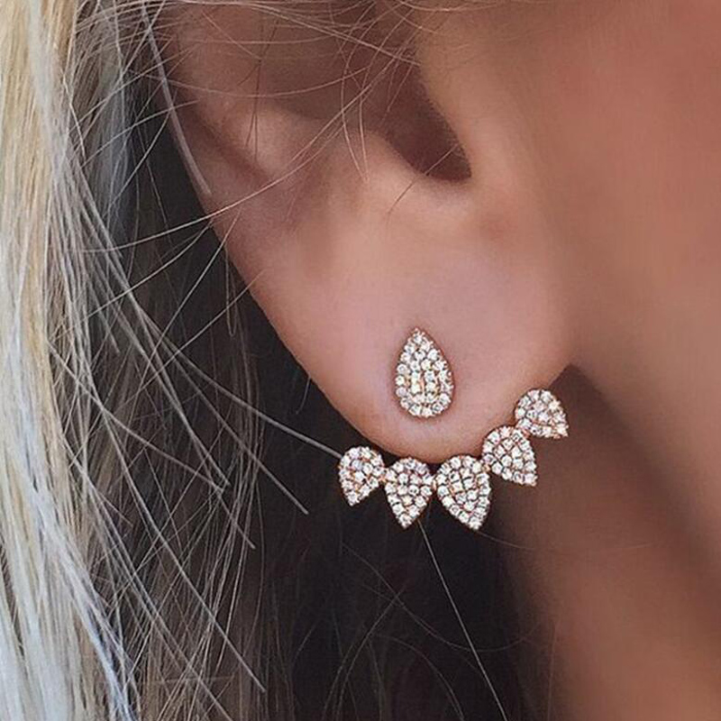 SMJEL New Fashion Crystal Ear Manschett Stud Earring för kvinnor 2017 Classic Zirconia Earrings Brincos Pendientes Dropshipping S184