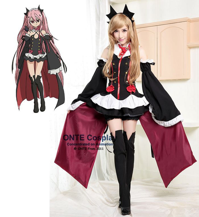 Japan Anime Seraph of the end Cosplay Costumes Krul Tepes Women Uniform Dress Outfit for Halloween 7 in 1 full set