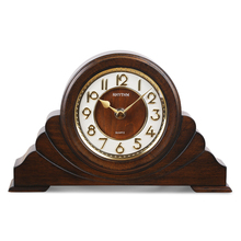 RHYTHM Brand Retro style Wooden Desk Clock Silent Quartz Movement 3D  Numeral Table Clock