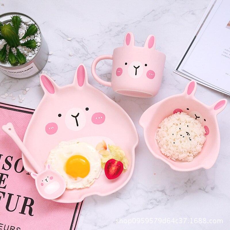 Dessin animé lapin chat vaisselle bol tasse assiette cuillère 4 pièces céramique vaisselle ensembles pour enfants bébés anniversaire cadeau partie présent