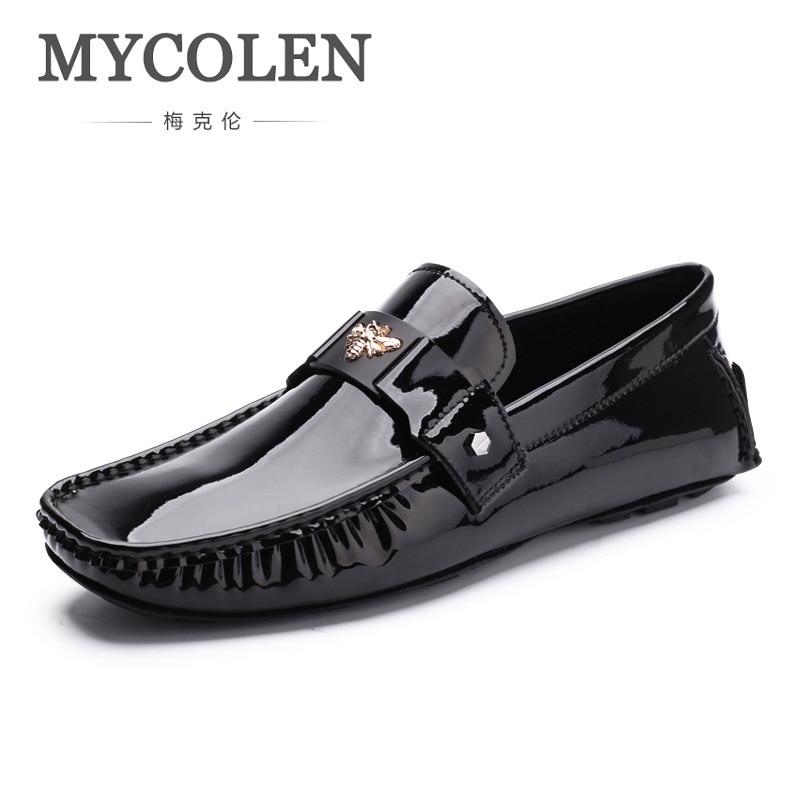 MYCOLEN Men Loafer Shoes Trendy Genuine Leather Leather Slip-On Loafers Style Men Driving Casual Black Flats Shoes Sapatenis Men спальный мешок nova tour сахалин v2 левый голубой