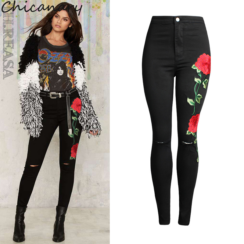 Chicanary Embroidered Floral Skinny Jeans Ripped Black Denim Distressed Pants