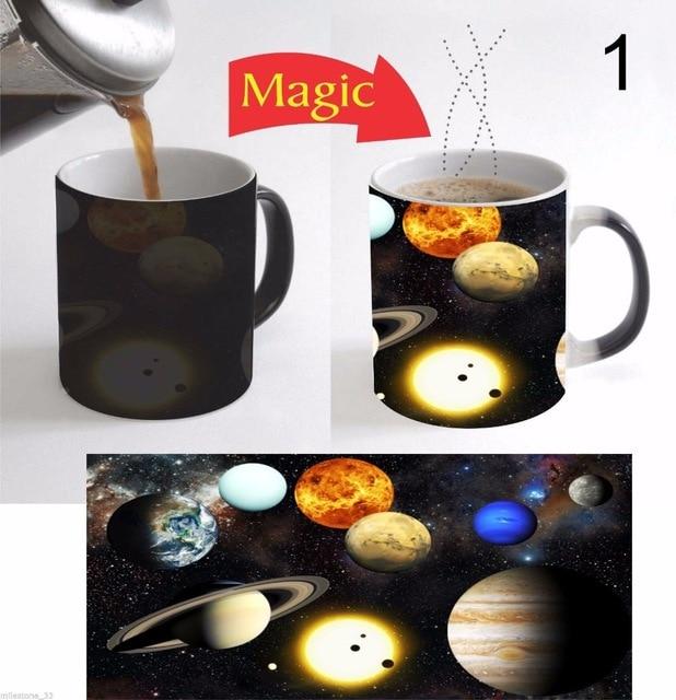solar system planets mugs heat changing color ceramic heat sensitive