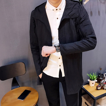 2018 Spring New Korean Style Men s Fashion Casual Medium And Long Windbreaker Tide Slim Solid