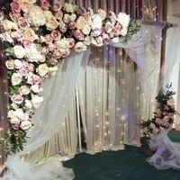 Белый с ярко розовый цвет розы свадебные стены искусственный шелк цветок Арки Фон Свадебные украшения