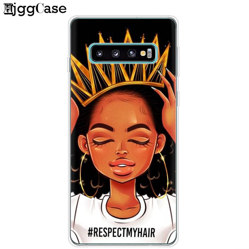 Melanin Poppin Aba Black Girl For Samsung Galaxy S10Plus S10E S10 Lite 5G + Cover For Samsung M10 M20 Soft TPU Case Phone Bags
