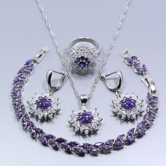 a6c125544 Eye-Catching 925 Sterling Silver Women Jewelry Set Flower Purple Zircon  Ring Necklace Pendant Bracelet