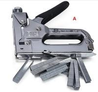 New Nail staple Gun Stapler for wood furniture, door & upholstery chrome finish with 600 nails