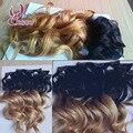 8A Sin Procesar virginal brasileño ondulado dos tonos ombre extensiones de cabello humano clip en extensiones del pelo humano envío gratis