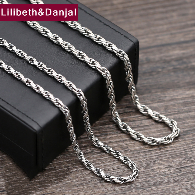 2017 925 Sterling Thai silver Vinage Necklace Men Weave Pendant Long Rope Chain Necklace women Gift Fine Jewelry N25