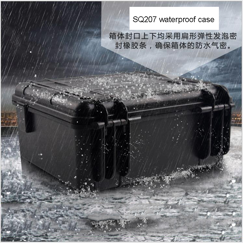 SQ207 ABS material black waterproof portable tool box with full precut foam inside  цены