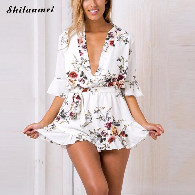 5aede3653a14 2017 Boho floral elegant jumpsuit romper Women summer sexy v neck one piece  playsuit Beach sashes white Polyester overalls