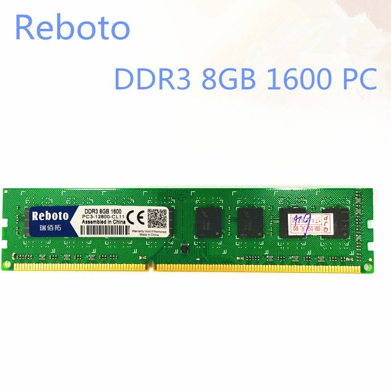 Reboto DDR3 8GB 1333MHZ 1600MHZ PC12800 desktop PC3 10600 RAM Memory