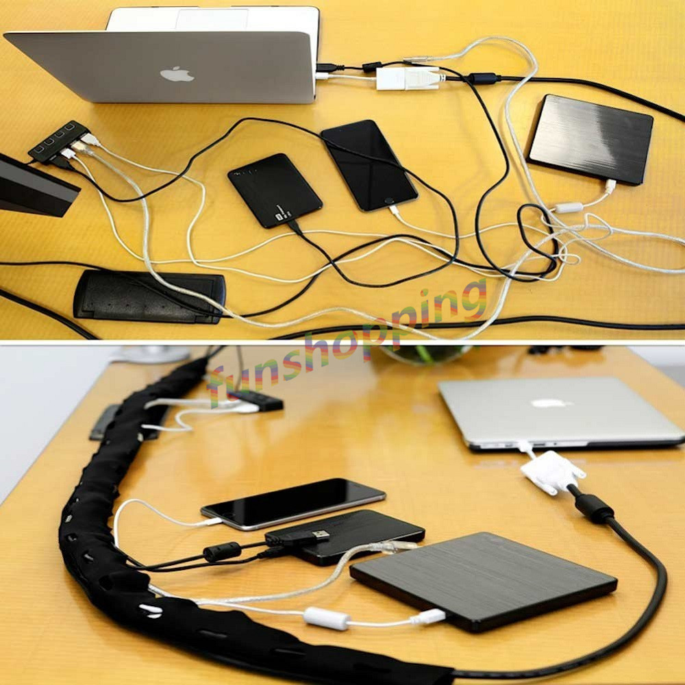 1/2/4pcs 1.2m Cable Management Sleeve Flexible Neoprene Cable Wrap ...
