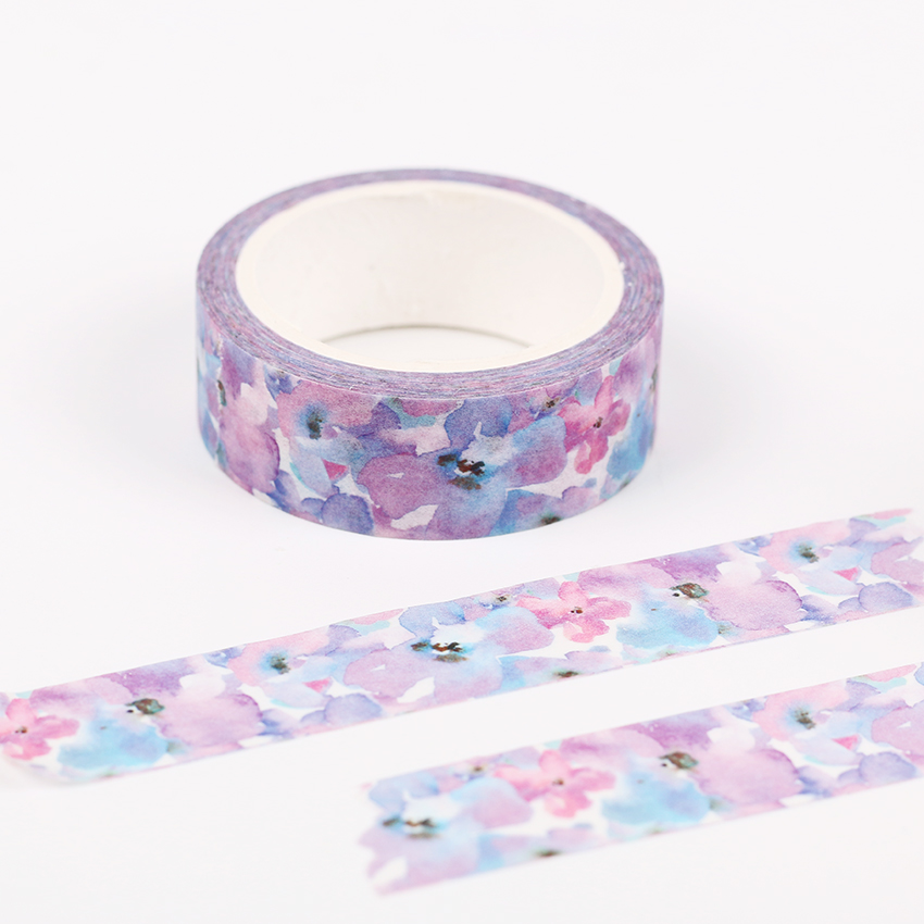 1PC Kawaii Watercolor Flower Masking Tape Decorative Student Stationery Notebooks Diary DIY Festive Decoration Washi Tape