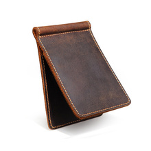 Retro Genuine Leather Men Money Clips Wallet Slim Multifunctional Money Holder Wallet Designer New Mens Purses Money Clip