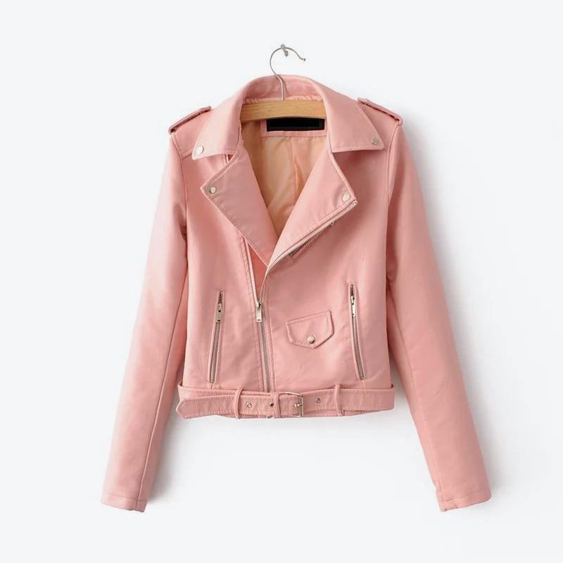 Pink Biker Faux PU Leather Womens Short Jacket Long Sleeve Motorcycle Multy Zipper Jackets Ladies 2019 Winter Fall Female Coats in Leather Jackets from Women 39 s Clothing
