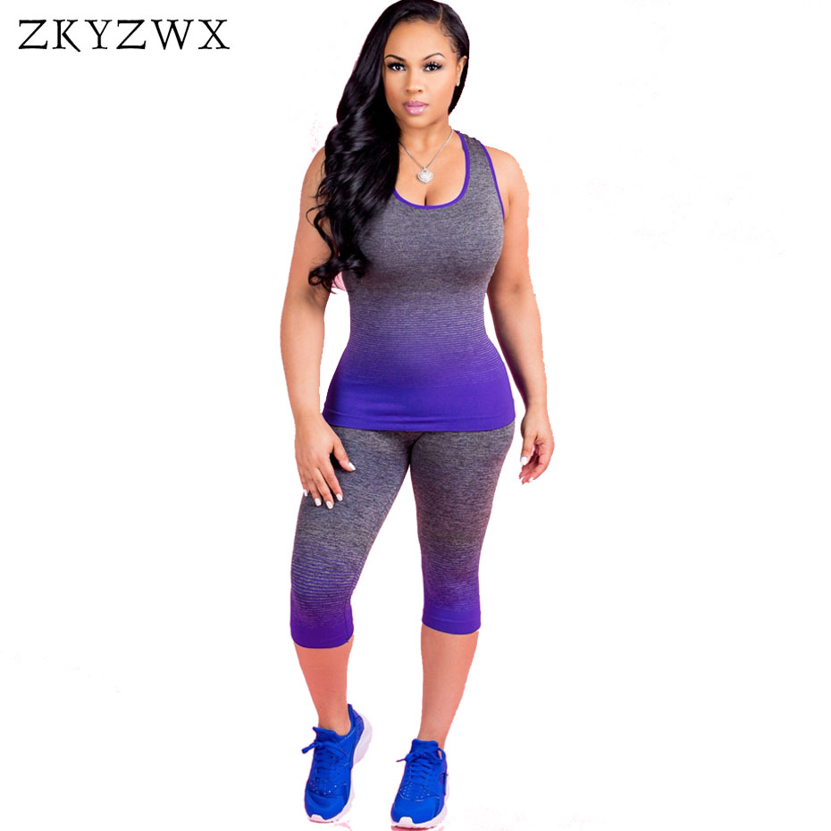 ZKYZWX Gradient Color Casual Tracksuit Women Clothes Sexy Top and Pants Sweat Suits 2018 ...