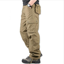 2017 30-44 Men's lus dimension High Quality Men's Cargo Pants Casual Mens Pant Multi Pocket Military Overall for Men Long Trousers