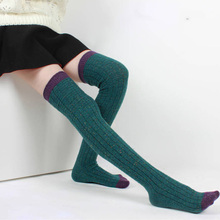 Зима новый шерсть вязаный теплые колготки для женщин женская мода за колено чулки довольно сладкий точка чулки 75z