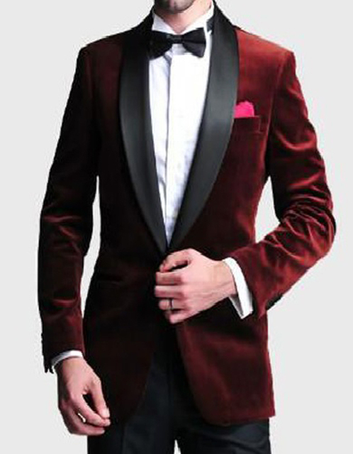 Aliexpress.com : Buy 2017 Burgundy Velvet Slim Fit Groom Tuxedos ...